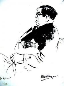 Albert Helman/Lou Lichtveld, door Jo Spier voor de omslag van Schakels, Suriname en de Nederlandse Antillen, uitg. Kabinet van de vice-minister-president , 1963.