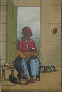 Kinderen van een zwarte vader en blanke moeder waren uit den boze. Winkels heeft hier (in 1850) een gekleurde moeder getekend met haar kind. Witte vaders waren er veel.