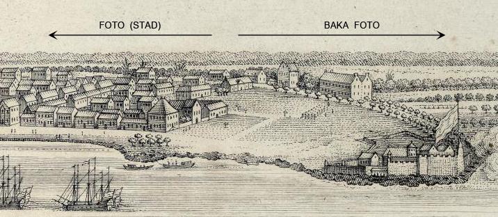 """Klein deel uit de gravure """"Gezicht van de stad Paramaribo en het Fort Zelandia in Suriname"""", door Jacobus van der Schley, ca. 1770."""