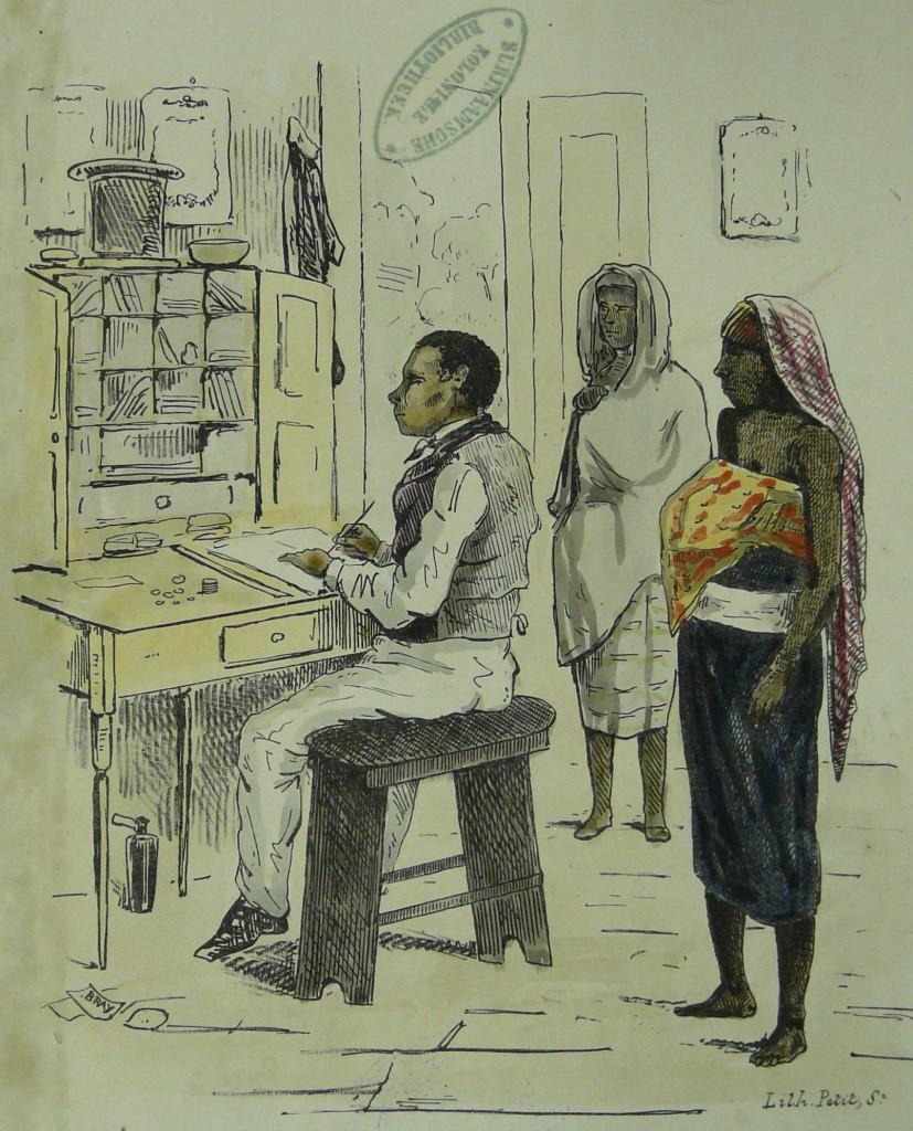 """Een toepasselijk plaatje van weliswaar zo'n 35 jaar later:  """"Administrateur's Klerk weekloon uitbetalende aan kraam of zwangere vrouwen."""" (T. Bray 1850.)"""